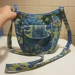 Vera Bradley crossbody with blue and green flowers